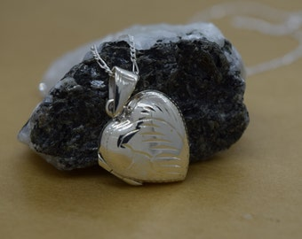 Sterling Silver Heart Locket with Design Includes Chain