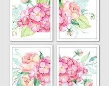 Watercolor Bloomy Day Prints, Roses, Hydrangea, Peonies Art Prints, Hand Painted Flowers, Floral Watercolor Painting, Floral Room Decor