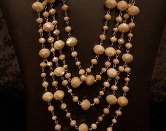 Chunky, Beaded Tan Necklace