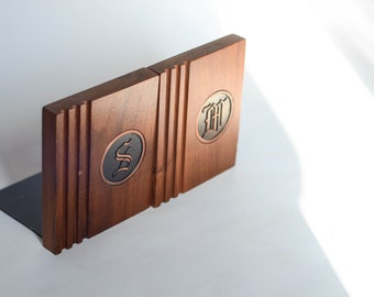 Mid Century Monogrammed S & M Bookends