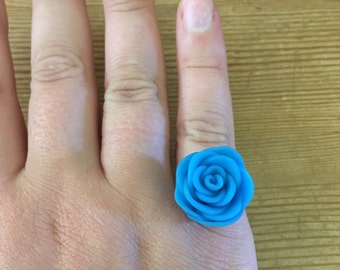Rose Polymer Clay Adjustable Ring