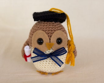 Graduation Owl Crochet Pattern, Owl Amigurumi, Crocheted Bird