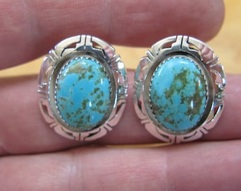 Vintage Native American Sterling Silver and  Turquoise Cabochon  Earrings Makers Mark S M