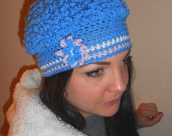 Shaggy trendy hat, Blue crochet Beanii, Birthday gift, Winter's hat, Gift for her