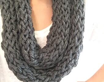 Light scarf, Gray scarf, infinity scarf, knit scarf, finger knit scarf, womens scarf, winter scarf, knit infinity scarf, crochet scarf