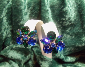 Blue, Green and Aurora Borealis Rhinestone Vintage Clip Earrings
