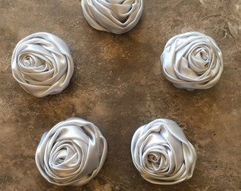 """2"""" Raised Rosettes, SILVER, GREY, rolled flowers, satin flowers, wedding flowers, head band supply, head bands, silk flowers, roses, flowers"""