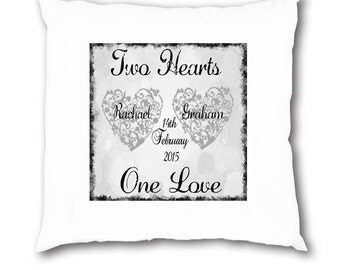 Personalised Wedding Engagement Anniversary Cushion Cover Gift Present Mr & Mrs
