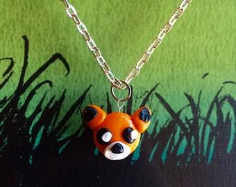 Orange fox necklace