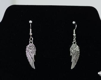 Wing dangle earrings