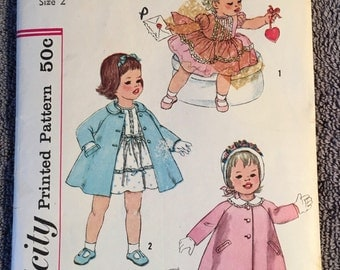 Simplicity sewing pattern 3335 Toddler size 6mos-3years Dress and Coat with detachable collar. Vintage 1960