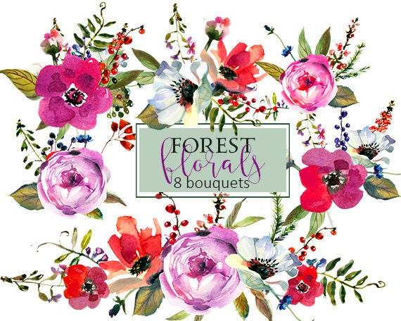 Purple Watercolor Flowers Clipart Set Wedding Floral Bouquets