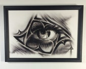 Eye gothic tracery framed...