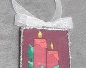 Candles Decoupage Christmas Ornament
