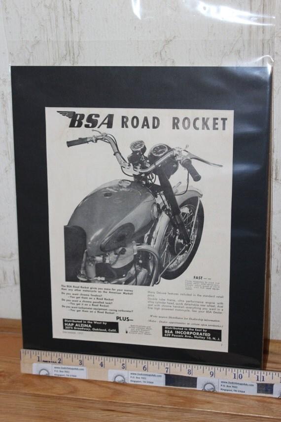 1955 BSA Road Rocket 11'' x 14'' Matted Vintage Print Ad Art / Poster #5512amot17m