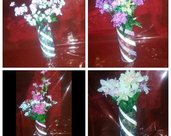 "9"" cylinder vases with artificial flowers"