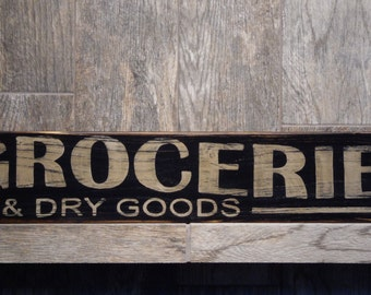 Groceries and Dry Goods Primitive Wood Sign, Vintage Groceries Sign, Rustic Groceries Sign, Distressed Store Sign
