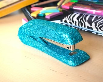 decorative office supplies. turquoise glitter stapler blue office supplies decorative e