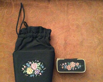 Black embroidered purse with matching sewing/grooming kit