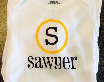 Personalized monogram onesie LONG sleeved