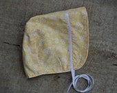 Handmade Baby Bonnet ~ 100% cotton ~ Size 6 months to 18 months ~ Yellow flowers