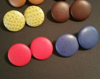 Faux Leather Pierced Button Earrings
