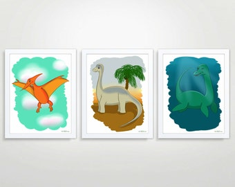 printable wall art, digital download , set of 3, dinosaur print, dino Illustration, drawing, boy room decor, kids wall art, nursery decor