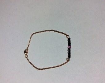 Vermeil bracelet pink and Pearl black myoki