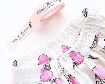 Fabric satin labels - Pink Satin - Fabric Ribbon - Handmade Label Tape Ribbon - Custom fabric ribbon - Custom satin labels - Printed labels