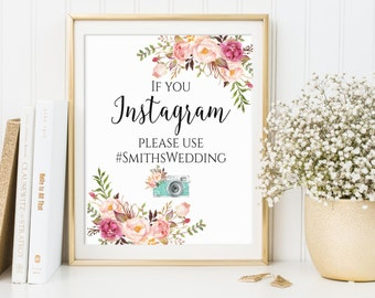 Instagram Wedding Sign, If You Instagram Sign, Wedding Signs, Custom Wedding Sign, Wedding Hashtag Sign, Instagram Sign, Wedding Props