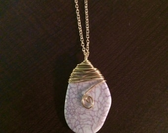 Gold Wire-wrapped Egg White Stone Necklace