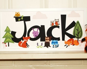 Woodland Creatures Nursery Name Sign - nursery decor, baby room, baby shower, baby gift