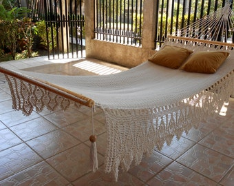 Hammock double Walnut, Color White