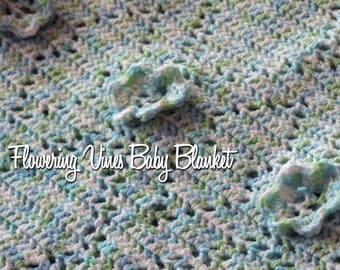 Flowering Vines Baby Blanket Crochet Pattern