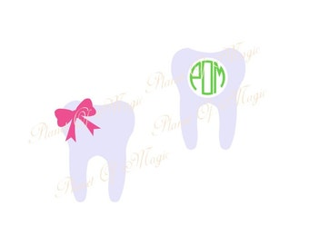 Tooth Svg File, Tooth Monogram SVG, Teeth SVG, Dentist Cutting File, Tooth DXF, Digital File,Silhouette Files, Tooth Cricut