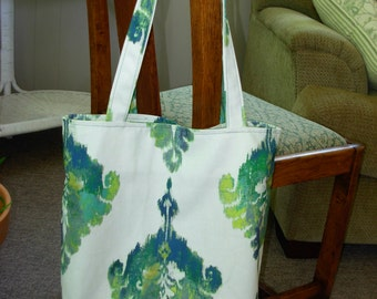 shopping tote in green print designer fabric lined