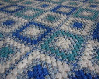 Handmade Crochet Blanket in White and Blues