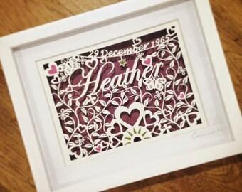 Birthday Love - Original handcut framed bespoke Papercut