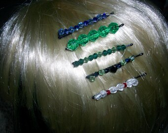 Handmade Crystal Glass Beaded Hair Jewelry Pins Barrettes Accessories