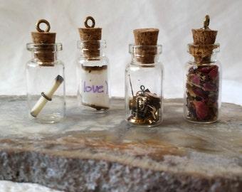 DIY Glass Vial Pendant Kit,  Fill Your Own DIY Bottle Kit, Bottle Craft Kit,  Glass Bottle Kit, Empty Glass Bottle For Necklace