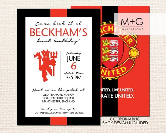 Wedding Invitations Manchester: Manchester United F.C. Birthday Party Invitation: Digital