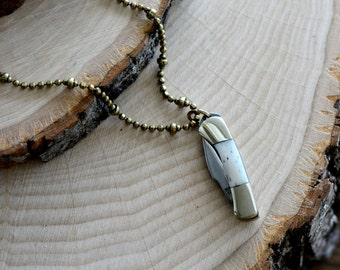"Miniature Pocket Knife Necklace, Folding Knife 1"" Charm, Steel Blade / BONE Handle, Vintage Style Pendant & Chain (V001)"