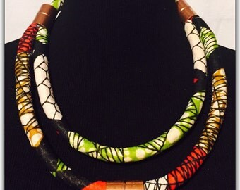 African Ankara Print Fabric  Necklace