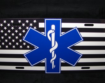EMT Logo Metal License  Plate Tag EMERCENCY MEDICAL Technicians American Flag