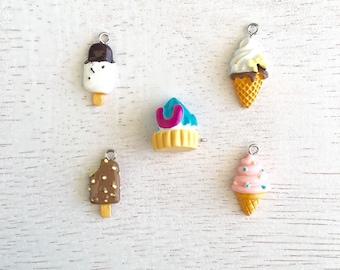 5 Mixed Kawaii Ice Cream Charms,Ice Cream Charms,Pendant,Jewelry Making,Food Charms,Resin Charms Lot #64
