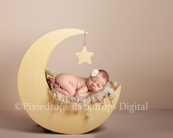 Newborn Moon Prop, Digital Backdrop, Newborn Digital, With Cream Toned Backdrop and Brown and Cream furs, Moon Prop