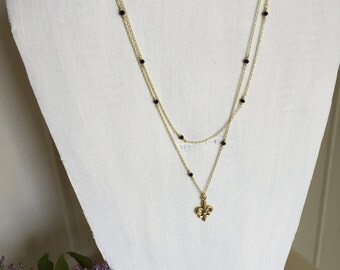 Black and Gold New Orleans Saints inspired 2-layer Danity Fleur de Lis Necklace