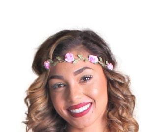 Silk Paper Rose Flower Headpiece (4 colors) EDC, Festival, Rave, Edm, Headpiece, Crown, Headband, Flower Headband