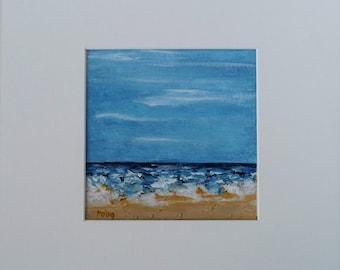 Original Sea Acrylic, Landscape Painting, Textured Beach, Seashore Ocean, Coastal Wall Decor, Small Acrylic Fine Art, Summer Beach, Blue Sky