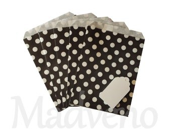 Lot of 10 bags in black paper with polka dots